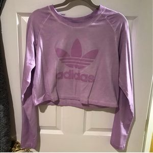 Adidas Trefoil Purple Long sleeved crop top shirt